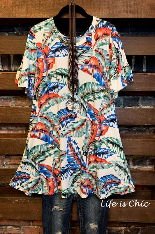 THE PERFECT ESCAPE PALM TREE PRINT DRESS IN TEAL MIX 1X 2X ------sale