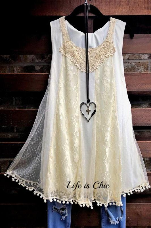 DREAMS OF YOU LACE TOP IN BEIGE [product vendor] - Life is Chic Boutique