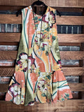 IN THE GARDEN OLIVE & MULTI-COLOR FLORAL PRINT DRESS----------sale