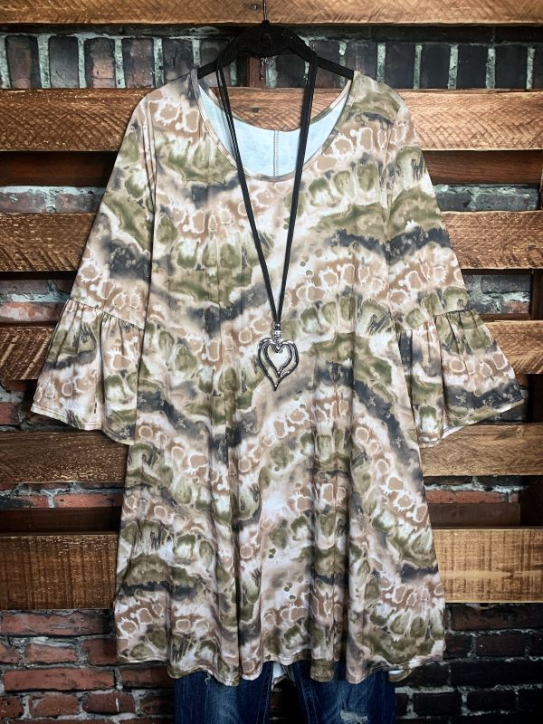 FOREVER YOURS TIE DYE BABYDOLL DRESS IN OLIVE & TAUPE