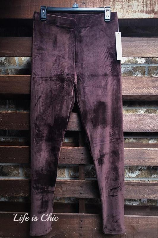 VELOUR BRUSHED ANKLE LEGGINGS PLUS SIZE IN BROWN