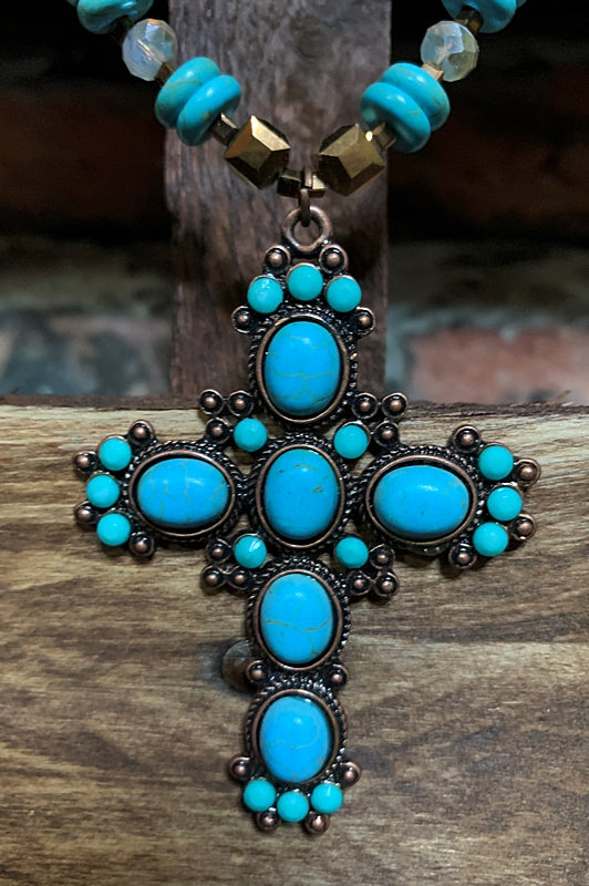 BLUE MOON CROSS NECKLACE IN TURQUOISE
