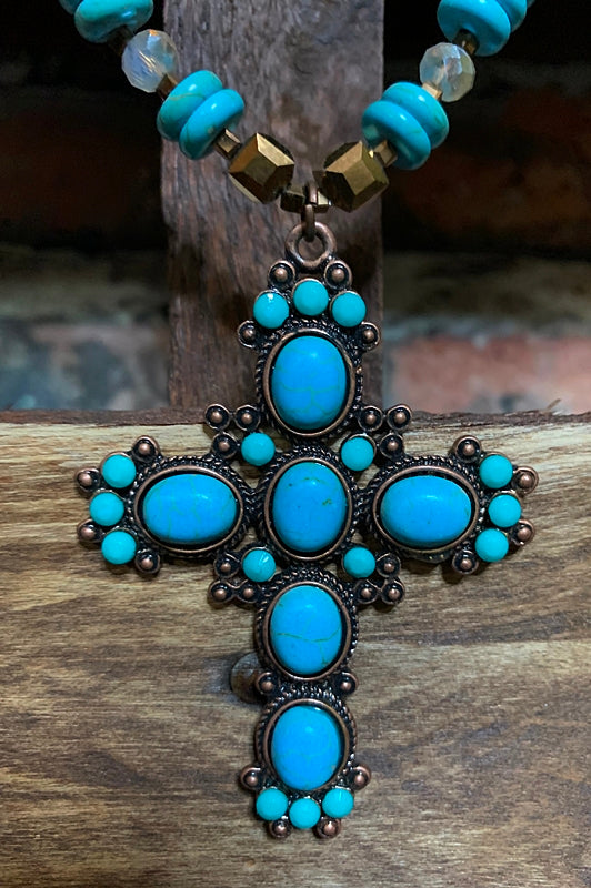 BLUE MOON CROSS NECKLACE SET IN TURQUOISE