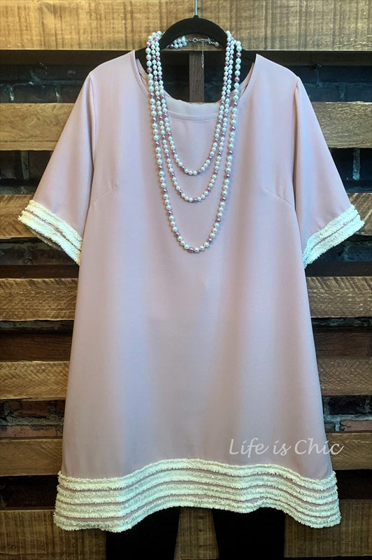 SIMPLY BEAUTIFUL VINTAGE PINK EMBELLISHED RUFFLE TUNIC------sale