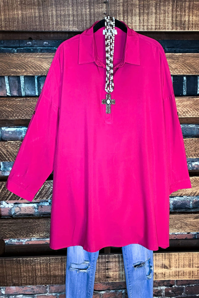 ANYWHERE SHE GOES OVERSIZED TUNIC IN BERRY PINK