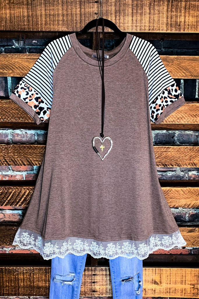A Love So Sweet T-Tunic in Mocha
