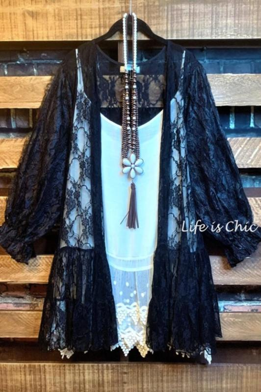 A NIGHT TO REMEMBER LACE CARDIGAN JACKET IN BLACK