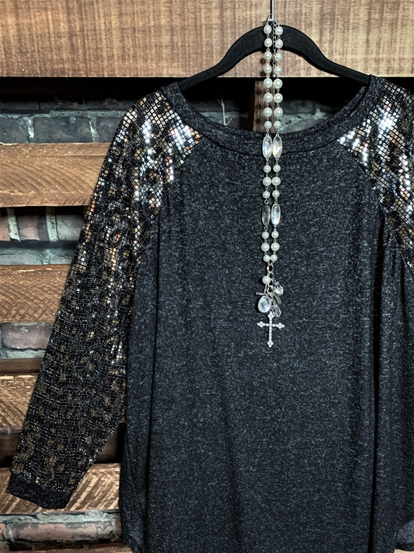 TAKE ME TO DANCE TONIGHT METALLIC SEQUIN IN BLACK