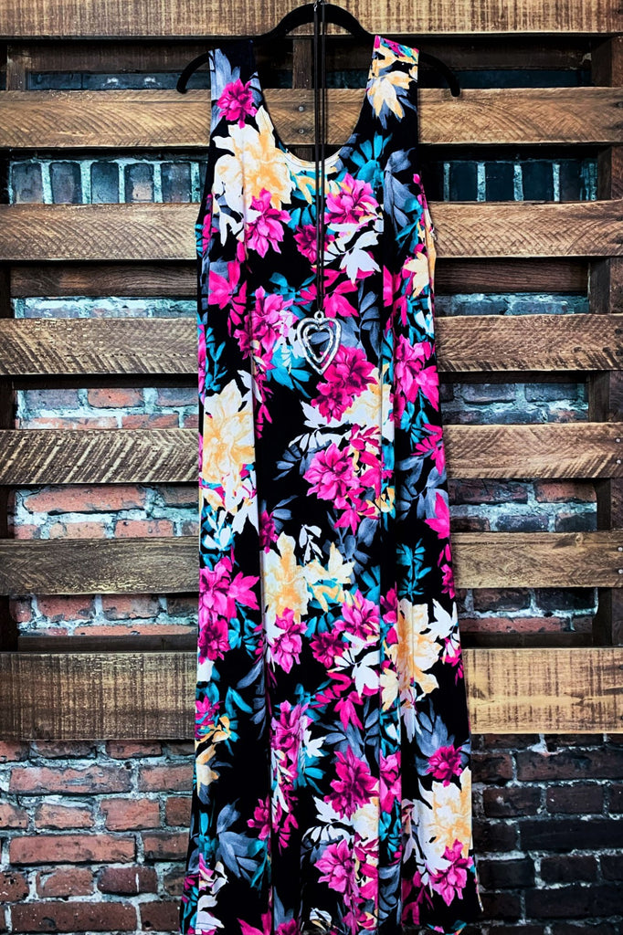 ALL FOR THE BEST FLORAL MAXI DRESS IN MULTI-COLOR