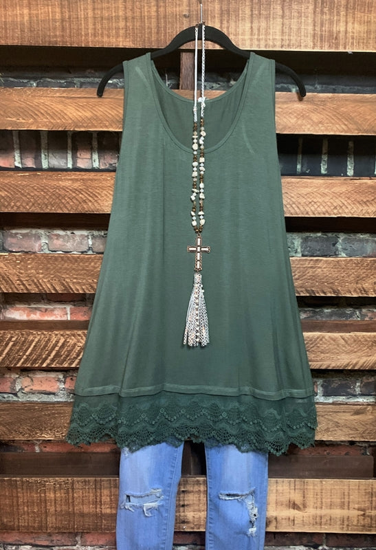 SWEETER THAN HONEY LACE SLIP EXTENDER DRESS IN OLIVE