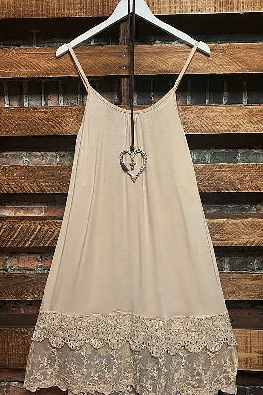 FOREVER MINE PRETTY LACE LAYERING DRESS EXTENDER SLIP IN NATURAL
