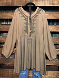 BELIEVE IN MAGIC EMBROIDERED DRESS IN TAN REGULAR & PLUS SIZE