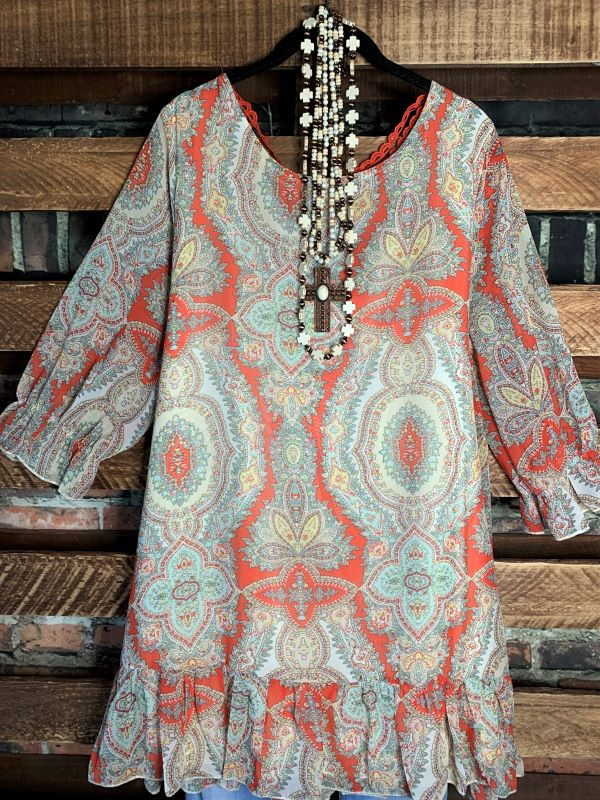 A ROMANTIC TWIST PAISLEY CHIFFON BLOUSE IN RED CORAL