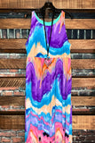 RAINBOW BOHEMIAN TIE DYE MAXI DRESS MULTI & PURPLE