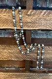 LONG NECKLACE LAYERED PEARL IN GRAY TONES