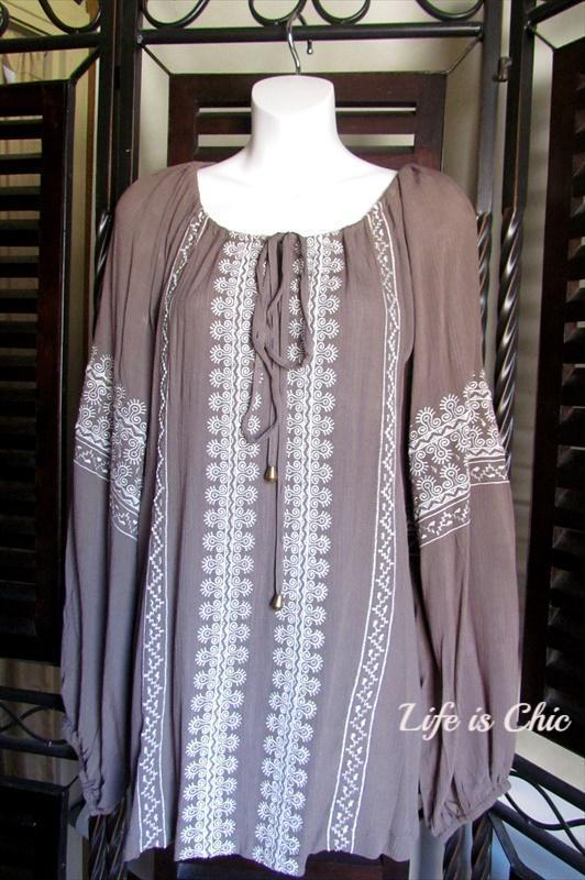 "CLASSIC GETAWAY EMBROIDERED TUNIC IN COTTON TAUPE size "" 2X"" - SALE [product vendor] - Life is Chic Boutique"