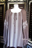 CLASSIC GETAWAY EMBROIDERED TUNIC IN COTTON TAUPE size