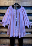 PASSIONATE HEART PEASANT LIGHTWEIGHT TOP BLOUSE - PURPLE