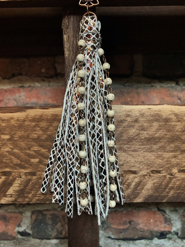 RUSTIC VINTAGE INSPIRED CROSS TASSEL IN IVORY