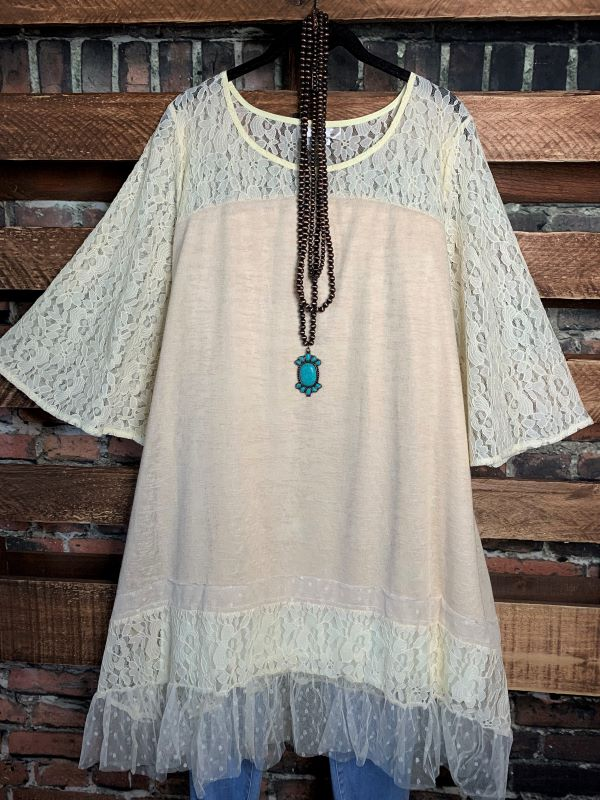 A Love Story Vintage Inspired Lace Oversized Tunic In Beige---------sale