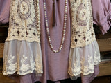 EVER SO SWEET BOHEMIAN CROCHET LACE VEST IN BEIGE NATURAL