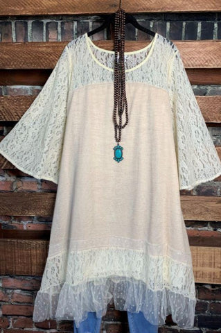A LOVE THAT WILL LAST FOREVER LACE SLEEVE TUNIC IN WHITE