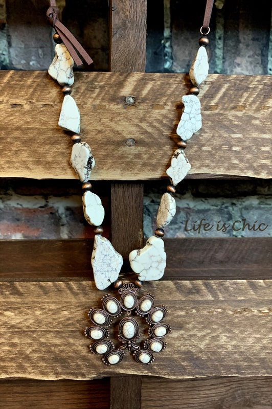 TOUCH THE SKY SET NECKLACE LEATHER & TURQUOISE IVORY