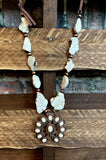 TOUCH THE SKY SET EARRING & NECKLACE LEATHER & IVORY