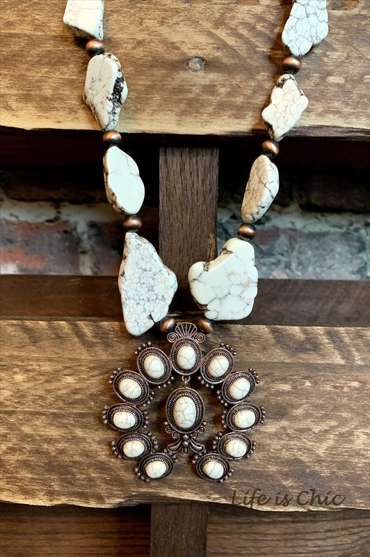 TOUCH THE SKY SET EARRING AND NECKLACE LEATHER & IVORY TURQUOISE