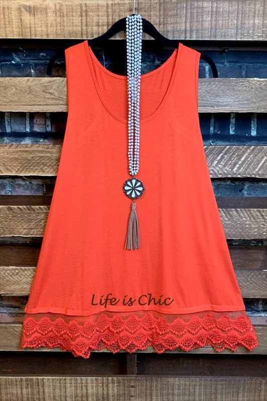 SWEETER THAN HONEY LACE SLIP DRESS EXTENDER TOP IN CORAL
