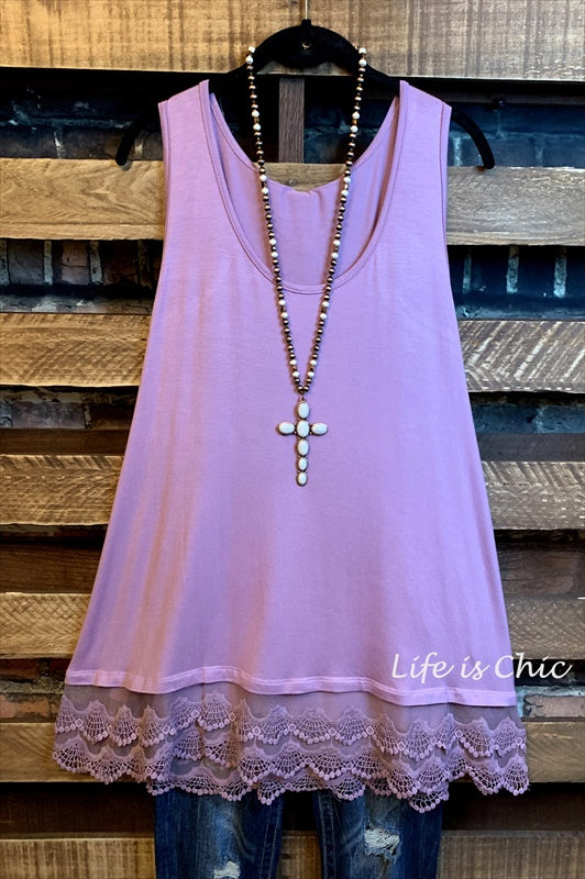SWEETER THAN HONEY LACE SLIP EXTENDER TOP IN LAVENDER