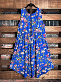 THE BRIGHTER SIDE FLORAL DRESS IN ROYAL BLUE MIX