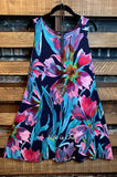 PARADISE GARDEN DRESS IN NAVY & MULTI-COLOR