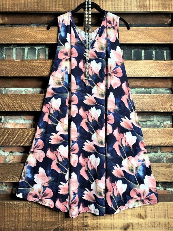 SOMETHING TO BELIEVE IN FLORAL DRESS NAVY & BLUSH