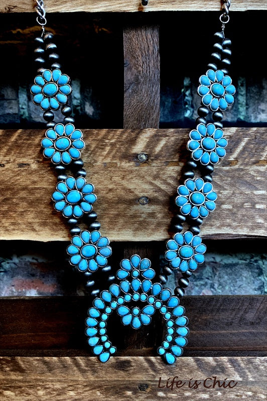 DEL CACTUS FLOR TURQUOISE & COPPER SET MATCHING EARRINGS