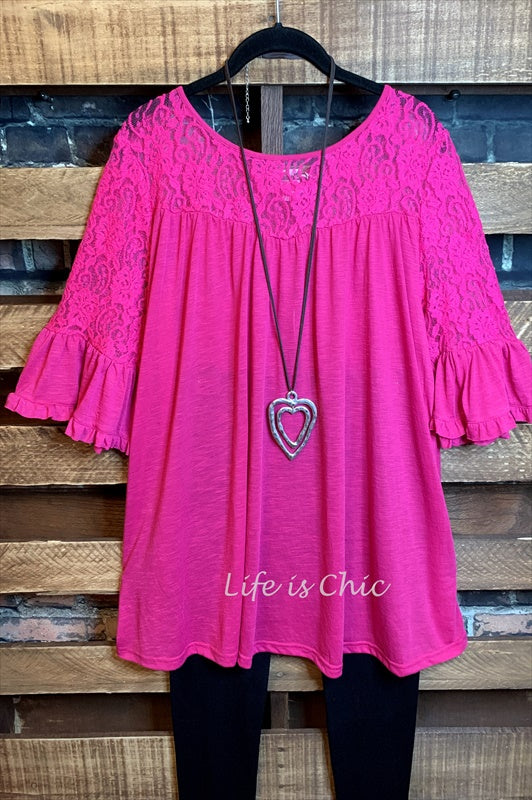 LOVELY TIME LACE TOP IN HOT PINK