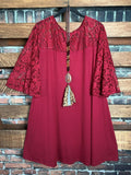 TAKE ME OUT TONIGHT TUNIC LACE IN BURGUNDY------------sale