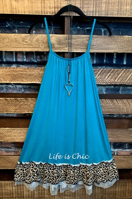 ADORABLY & FASHION SLIP DRESS EXTENDER TOP IN TURQUOISE & LEOPARD