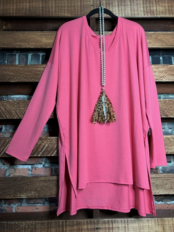 ALWAYS AND FOREVER LONG SLEEVE T-TUNIC IN ROSE PINK