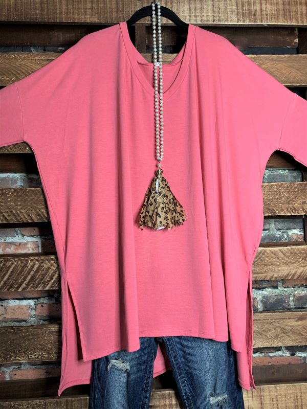 ALWAYS & FOREVER LONG SLEEVE T-TUNIC IN ROSE PINK