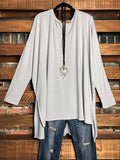 ALWAYS AND FOREVER LONG SLEEVE T-TUNIC IN LIGHT GRAY