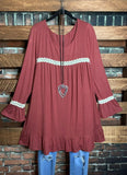 BELONG WITH ME LACE TUNIC COMFY IN MARSALA