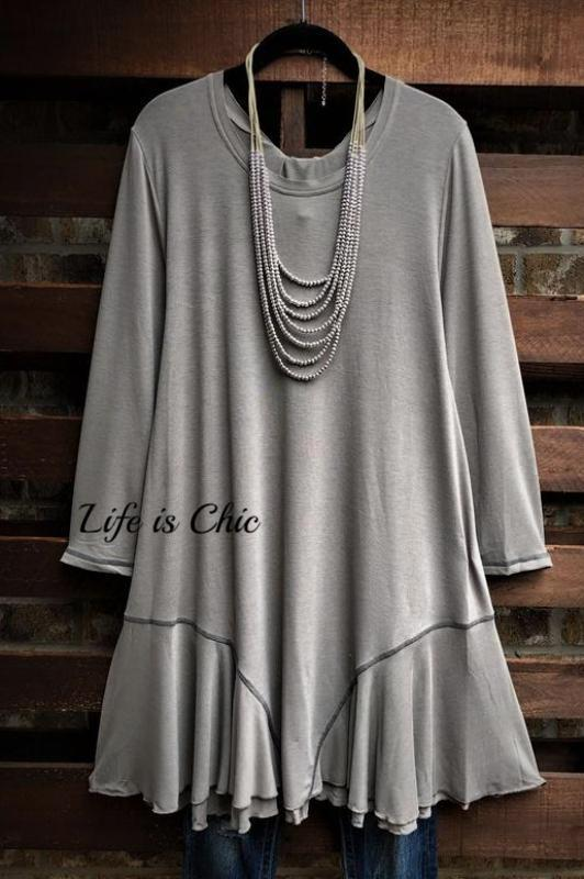 YOU'RE ALWAYS PRETTY LIGHTWEIGHT KNIT TUNIC IN SAGE GRAY