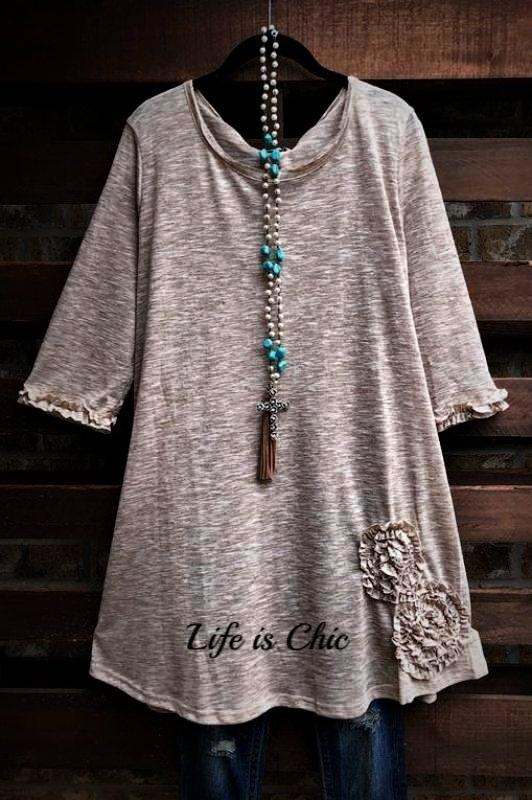 BEAUTY PERSONIFIED FLORAL RUFFLE DETAIL MIX T-SHIRT IN TAUPE
