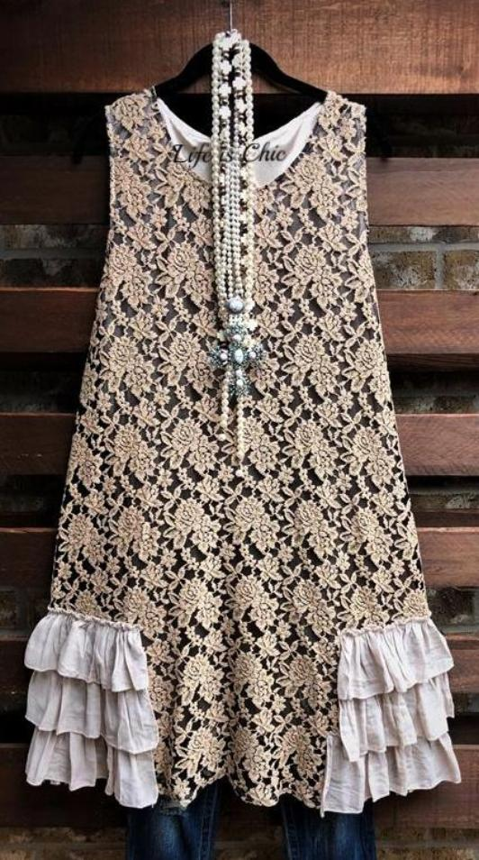 A FAIRYTALE DREAM LACE LAYERING DRESS IN TAUPE