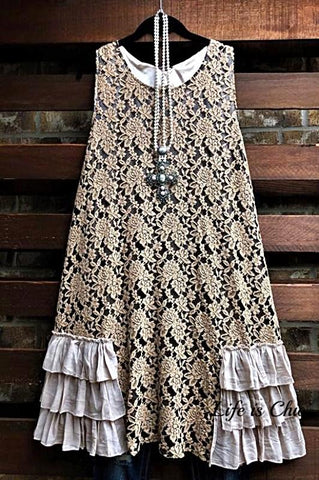 WON MY HEART RUFFLED LACE TOP DRESS IN BEIGE & GRAY