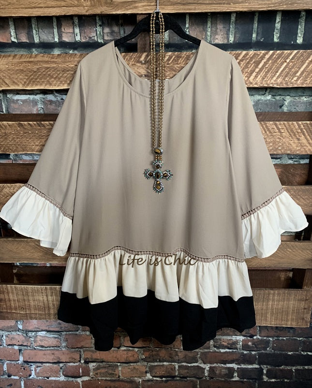 SWEET NEW DAY BOHO CHIC TUNIC OVERSIZED IN BEIGE AND MOCHA