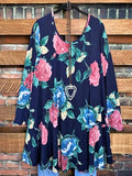 ROSE PETALS TUNIC IN  NAVY BLUE & MULTI-COLOR