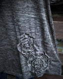 BEAUTY PERSONIFIED FLORAL RUFFLE DETAIL MIX T-SHIRT BROWN MIX