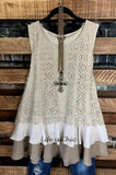 JUST SO PRETTY LACE SLEEVELESS BLOUSE IN TAUPE AND MOCHA